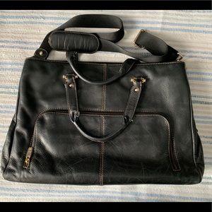 Liz Claiborne black pebbled leather laptop Tote